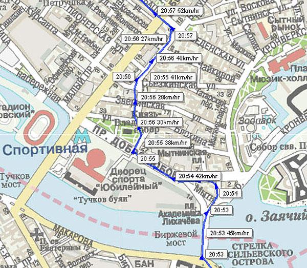 Отражение на карте точного маршрута автомобиля