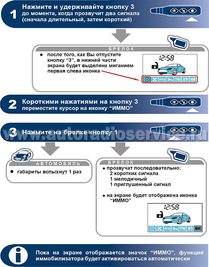 Программирование режима иммобилизатора автосигнализации