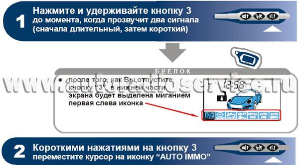 Программирование режима иммобилизатора