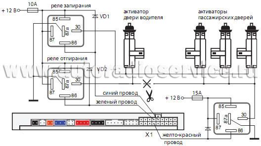 Схема подключения электрозамков к сигнализации5